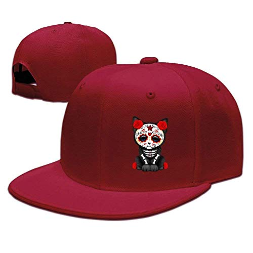 Zhgrong Caps Sugar Skull Cat Unisex Snapback Adjustable Flat Bill Baseball Cap Ball Cap