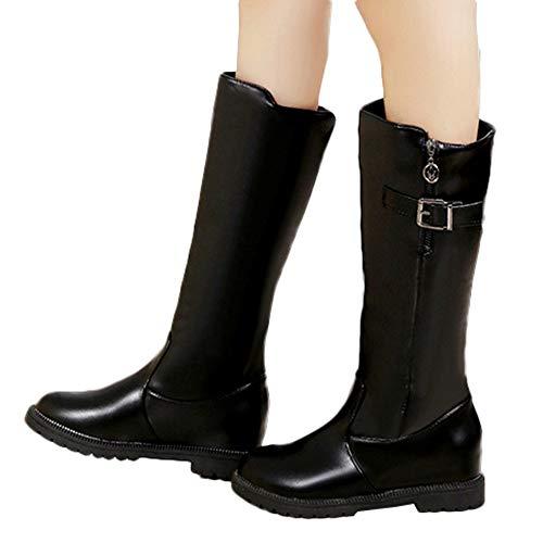 durchsichtige wei e bluse Geili Damen Langschaft Stiefel Reißverschluss Schnalle Lederstiefel mit Niedriger Blockabsatz Frauen Modische Übergrößen Lange Boots Reiterstiefel Cowboystiefel Kniestiefel