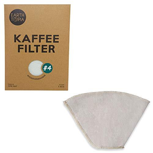 Earthtopia 3er Set Wiederverwendbare Kaffeefilter aus Stoff   100% Hanf   Filtertüten für Kaffeemaschine und Handfilter   Permanentfilter Mehrwegfilter Dauerfilter (3 Stück, Größe 4)