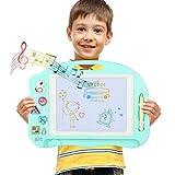 Kleine Magnetische Zaubertafeln Pädagogische Magnettafel Löschbar Spielzeug mit 1 Stift, 4 Cartoon Magnetische Stamper und eine kleiner Schraubendreher- Lernspielzeug 35*16*2cm ( Mit Musik hören)