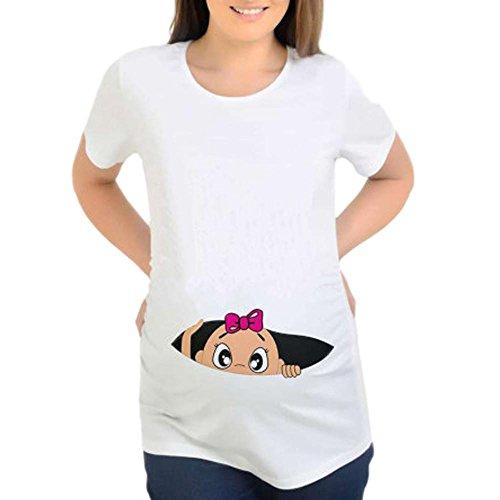 Witzige Süße Mutterschaft T-Shirt,Spähen Baby Gedruckt Buchstaben Sommer Kurzarmshirt Umstandsmode Umstandsshirt Umstandstop Umstandsmoden (M, Weiß)