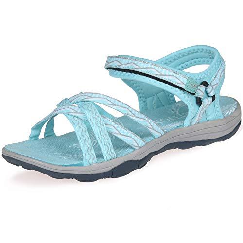 GRITION Damen Wandern Sandalen Outdoor Sport Wasser Schuhe Sommer Flach Cross-Tied Beach Sandalen Open Toe Verstellbare Klettverschluss Walking Schuhe Schwarz MEHRWEG(40 EU,Blau) -