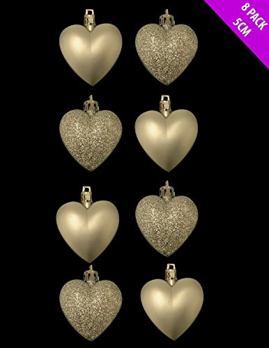 Christmas Shop 8 x 5cm CHAMPAGNE GOLD Glitter   Matt Heart Shaped Christmas Tree Baubles