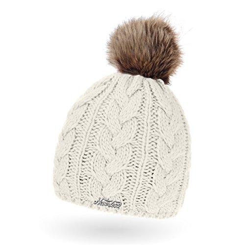gefütterte Damen Strickmütze mit abnehmbarem Fell-Bommel und Fleece, Winter-Mütze...