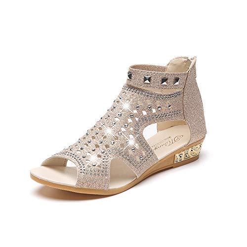 Junjie Sommer Sandale,Damen Kniehohe Stieletto Elegant Stiefeletten Vintage Peep Toe Atmungsaktive...