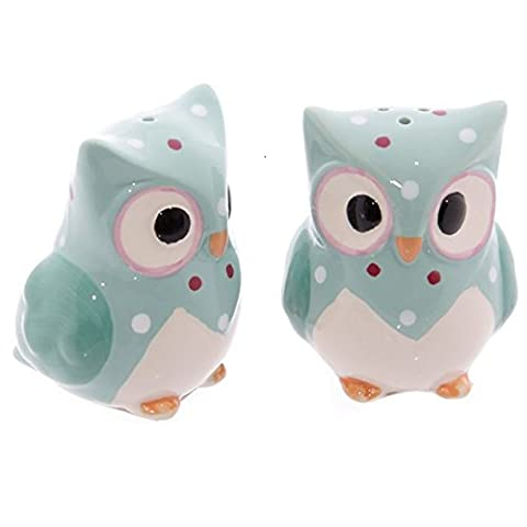Ceramic Polka Dot Owl Salt & Pepper Set - Three different colours one selected at random on despatch