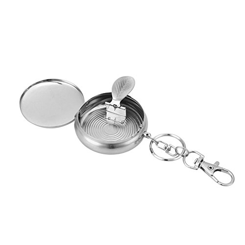 Stahl-flip-deckel (Kicode Runden Nützliche Mini-Tasche Zigarette Aschenbecher Schlüsselanhänger Rostfreier Stahl tragbar Outdoor-Reisen)