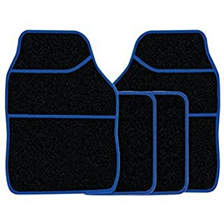 Streetwize 4pce Car Mat Set Black Velour with Blue Binding