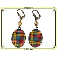 Orecchini resina a scacchi Scozia verde giallo tartan Outlander ottone bronzo perla regali personalizzati Natale amici…