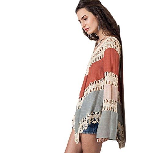 Culater® Jolie Femme Bohème en Dentelle Crochet Creux Bikini Cover Up Maillots de bain Robe de Plage Kaki