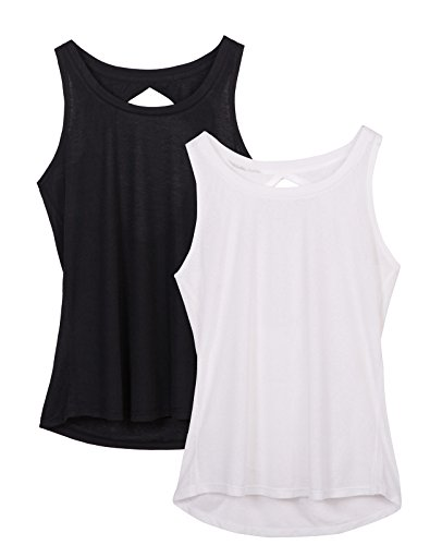 icyZone Damen Yoga Sport Top Rückenfrei Workout Oberteil Fitness Tank Tops ärmellos (Black/White,L) (T-shirt Out-Ärmelloses)