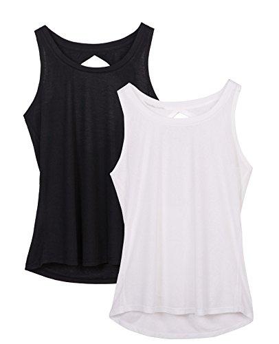 icyzone Damen Yoga Sport Tank Top - Rückenfrei Fitness Shirt Oberteil ärmellos Training Tops (XL, Black/White