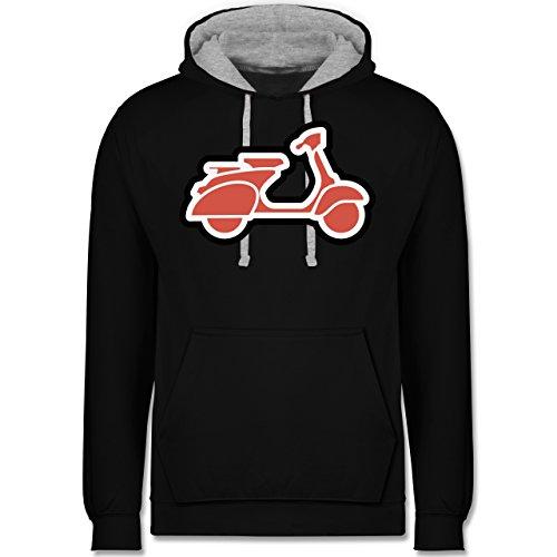 Motorräder - Roller Moped - Kontrast Hoodie Schwarz/Grau Meliert