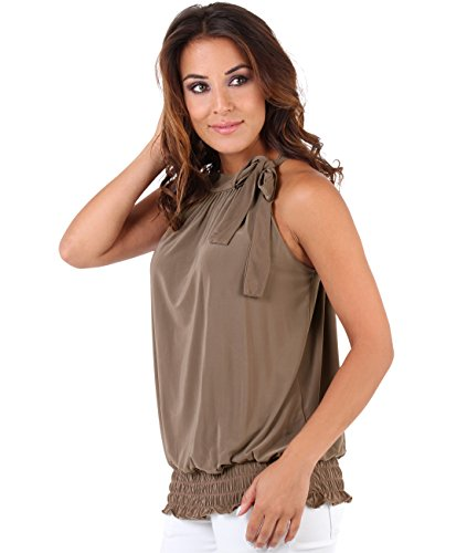 Damen-abendmode Plus Size (Krisp Damen Neckholder Plissee Top mit Schleife 7571, Braun (Mokka 19), 42 (Herstellergröße: 14))