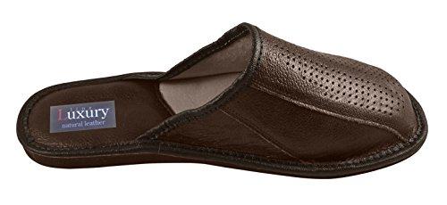 Natural Line Vera pelle da uomo pantofole, infradito, pantofole con soletta anatomica e fodera in lana. Vari colori Dark Brown V3