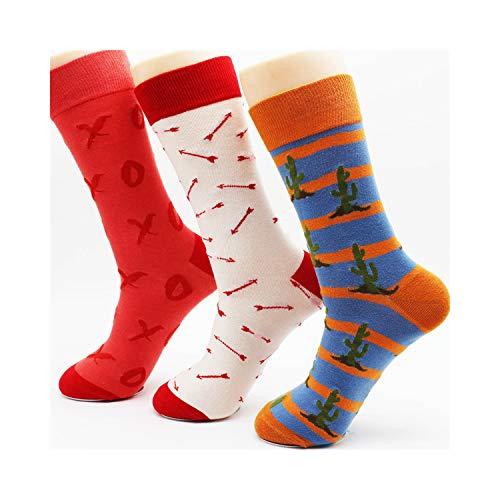 Eanijoy Lustige lässige Baumwollsocken, Crew Socke, New Winter Men's Colorful Cotton Stripe Socks Brand High Quality Fashion Hip Hop Skateboard Novelty Mens Dress Socks (6 Pairs) 0020 40-46