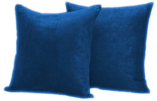 2er Pack Luxus weichen Wildleder Dekorative Kissenbezug, Mikrofaser, königsblau, 45,7 x 45,7 cm -