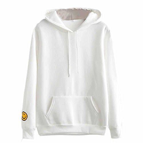 BBring Mode Kapuzenpullover Damen Langarm Lächelndes Gesicht Gedruckt Sweatshirt Hooded Jumper Pullover Hoodies Top Blouse (S, Weiß) (Gesicht, Top Ärmelloses)