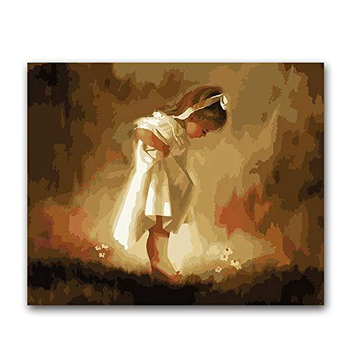 arbe Von Number Kit Für Acrylmalerei Für Kinder Und Erwachsene AnfängerPrinzessin Kleid Weißes MädchenZeichnen Mit Bürsten 16 * 20 Zoll Dekorationsgeschenke (Ohne Rahmen) ()