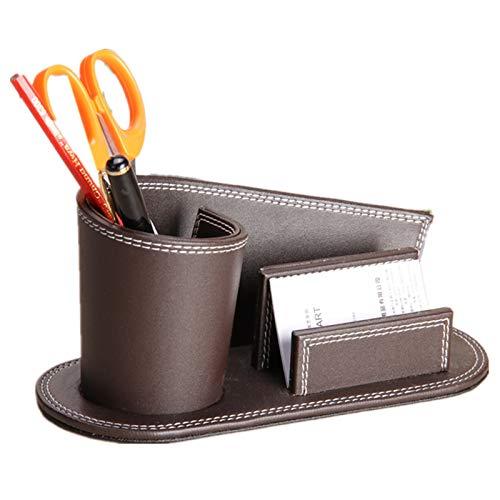 Portapenne personalità in pelle creativo carino porta biglietti da visita multi-funzione affari ufficio penna portaoggetti scatola regalo colore caffè