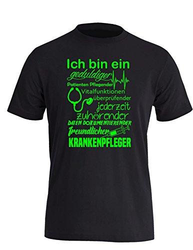 Ich bin ein geduldiger, Patienten Pflegender, Vitalfunktion überprüfender... freundlicher Krankenpfleger - Perfektes Geschenk für Pfleger - Herren Rundhals T-Shirt Schwarz/Neongruen