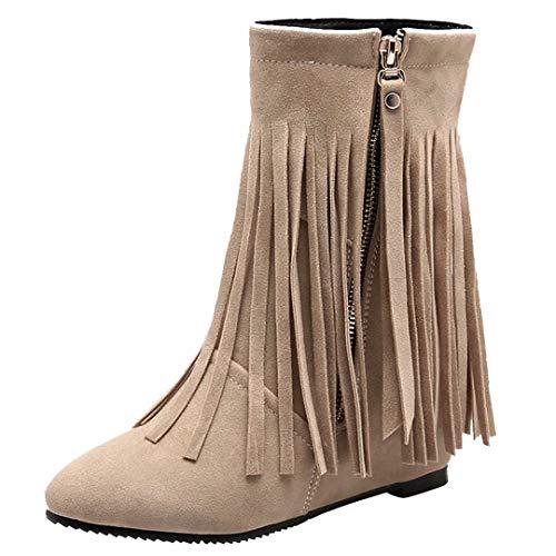 AIYOUMEI Damen Winter Keilabsatz Stiefeletten mit Höhenerhöhung und Fransen Modern Bequem Fransenstiefel