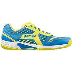 Kempa Wing, Zapatillas de Balonmano Unisex Adulto, Azul (Bleu Cendré/Jaune Spring), 43 EU