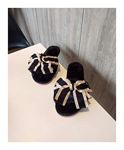 chen Frauen Winter Home Hausschuhe Warm Anti-Slip Innen Soft Bequem Baumwolle Velours Bow Tie Boden Schuhe, 33-34, Schwarz ()