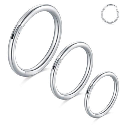 VFUN 3 Stück Chirurgenstahl 18G Helix Piercing Nasenpiercing Cartilage Tragus Ohr Stecker Septum Piercing Hinger klick Segment Ring Piercing Schmuck 8-12MM (18g Segment Hoop)
