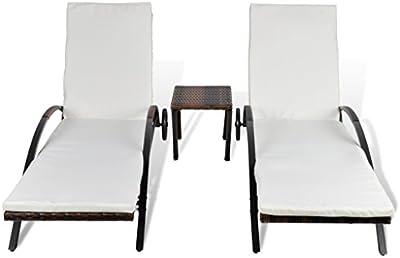 Tumbona con Cojín 2 piezas +1 pieza mesa Respaldo Ajustable marrón