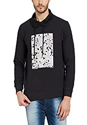 Spykar Mens Cotton Black Slim Fit Sweatshirts (Small)