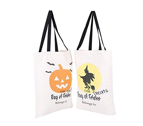 PJS-MAX Canvas Tote Bag Natural Material Cotton Halloween Style Fastened Thread Bear 44 Ibs Pattern 7 and 8 by PJS-MAX (Pjs Halloween)