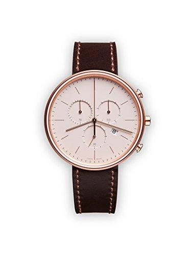uniform wares m40 quartz watch with beige chronograph dial with dark brown leather strap