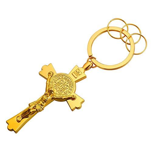 Inveroo Saint Benedict Medaille Key Keychain Mode-Accessoires Gold Farbe Jesus Kruzifix Kreuz Schlüsselanhänger Männer Schlüsselanhänger