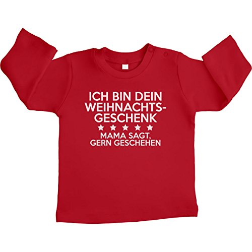 Ich Bin Dein Weihnachtsgeschenk - Geschenk für Papa Unisex Baby Langarmshirt Gr. 66-93 6-12 Monate / 76 Rot