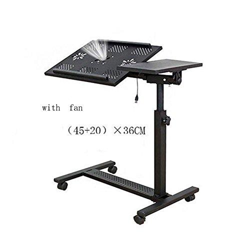 Afanyu Afanyu Rolling Laptop Tisch Notebook Ständer Schreibtisch Krankenhaus Tischständer Abschließbare Rollen, höhenverstellbar,Schwarz -