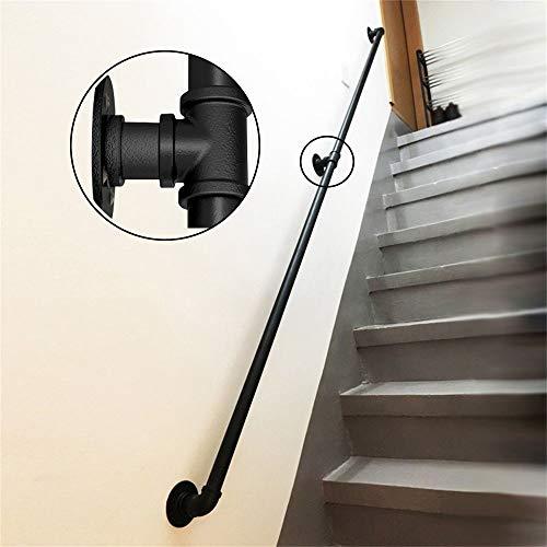 30-600cm Schmiedeeisen-Treppengeländer mit verzinktem Rohr, schwarzer Rutschfester Sicherheitshandlauf, komplettes Zubehör, für Innen- und Außengeländer für ältere Menschen geeignet
