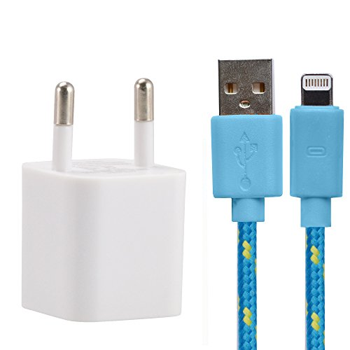 Preisvergleich Produktbild Innovatives Ladeset mit klein rundem Netzteil weiß (1A / 5V) & stylischem 3 Meter Textil Ladekabel blau Daten Kabel 8 Pin für iPhone 6s Plus / 6s / 6 Plus / 6 / 5s / 5c / 5,  iPad Air / 2,  mini / 2 / 3 / 4,  iPad 4,  iPad Pro,  iPod touch 5th generation,  und iPod nano 7th generation - IOS9 - von OKCS