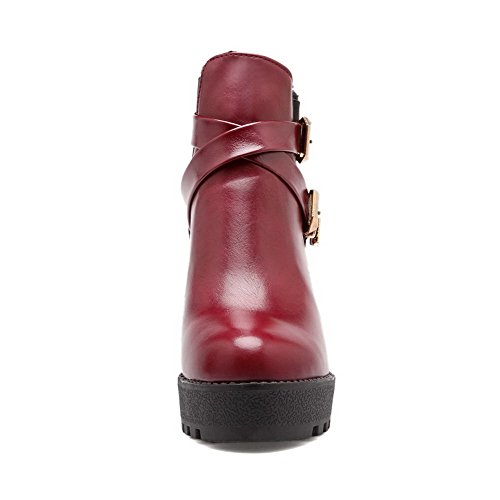 VogueZone009 Damen Niedrig-Spitze Reißverschluss Soft Leder Hoher Absatz Rund Zehe Stiefel Rot