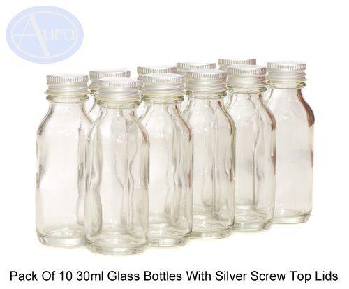 Lot de 10 flacons en verre transparent - couvercles argentés - 30 ml