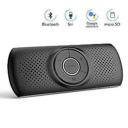 AGPTEK Vivavoce Auto Bluetooth 4.2 con Siri Assistente Comandi Vocali di Google Altoparlante Kit e Scheda TF Supporto per Aletta Parasole Connessione Automatica, Nero