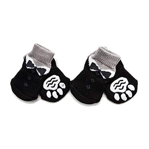 POPETPOP 4 Piezas Calcetines Antideslizantes para Mascotas, Calcetines de Algodón de Punto Cálido para Perros, Calcetines de Otoño Invierno para Cachorros - Talla M