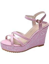 Dragon868 Donna Estivi Scarpe Sandali Zeppa Fascia Tacchi Alto 9.5cm Eleganti  Sandali Scarpe Donna Tacco f182bbd0794