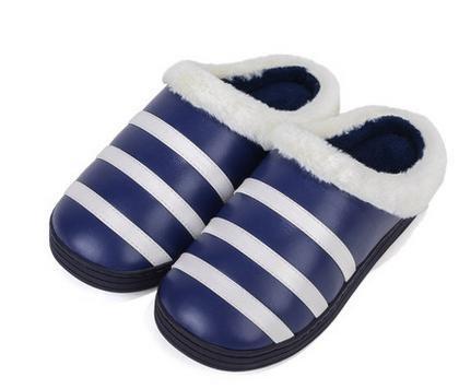 &zhou Autunno e cotone pantofole indoor home moda striscia spessore del fondo inverno uomo anti - ciabatte antiscivolo Blue