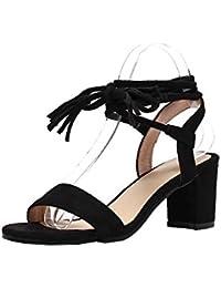 AgooLar Mujeres Puntera Abierta PU Sólido Cordones Sandalias de Vestir