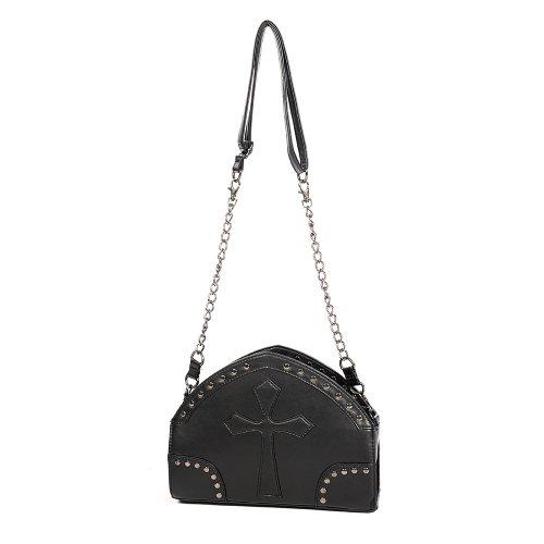 Banned Damen Handtasche - Nieten und Kreuz Gothic Schultertasche