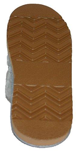 Dunlop Damen Hausschuhe Mules, gestrickt, mit Kunstfell-Futter & Manschette Grau