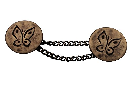 süße messing bronze Knöpfe Knopf mit Kette Kettenknöpfe Schmetterling 21mm, Kette ca.50mm Verschluss Jacke