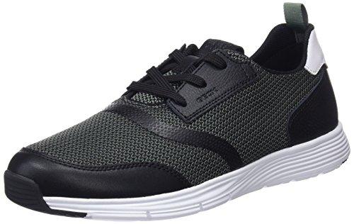 Geox u snapish a, scarpe da ginnastica basse uomo, verde (sage/black), 41 eu