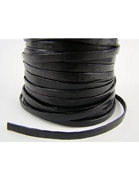 Cinturino in pelle piatta 5mm x 1.5mm. Colore/scelta di lunghezza, Pelle, Black, 10 m